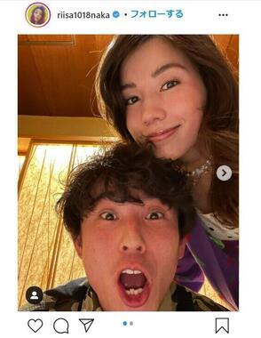 夫婦2ショット。仲里依紗さんのインスタグラム(@riisa1018naka)より