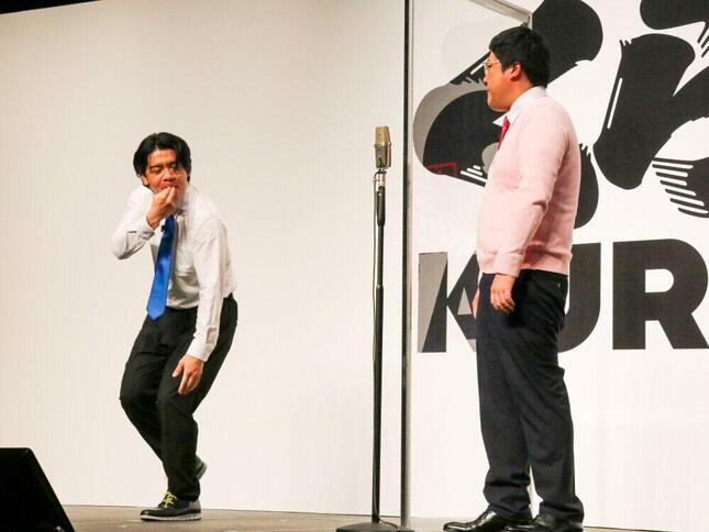 「くら寿司」の漫才ネタを披露したマヂカルラブリー