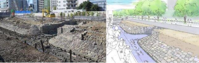 出土した第7橋梁跡と現地保存後のイメージ(プレスリリースより)