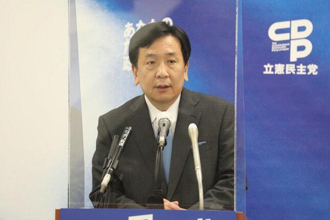 立憲民主党の枝野幸男代表。防衛相が報道機関に対して抗議することを疑問視した