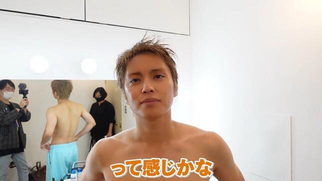 禁酒明けの手越さん(本人のYouTube動画より)
