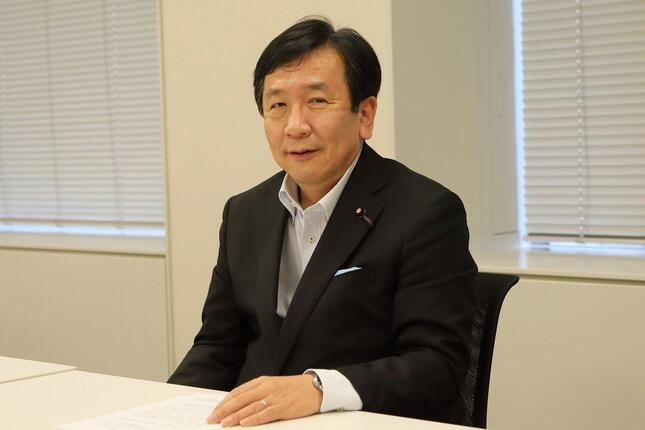 J-CASTニュースのインタビューに応じる立憲民主党の枝野幸男代表