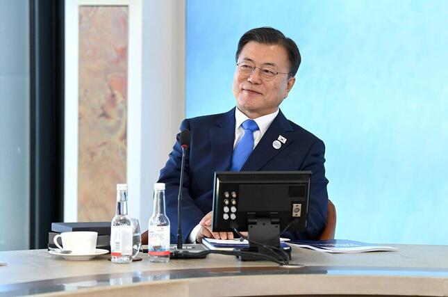 韓国の文在寅大統領は主要7か国首脳会議(G7サミット)に招待国首脳として招かれた。((c)Karwai Tang/G7 Cornwall 2021)