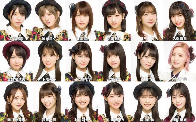 新曲に参加する18人。4人が「初選抜」だ(c)AKB48