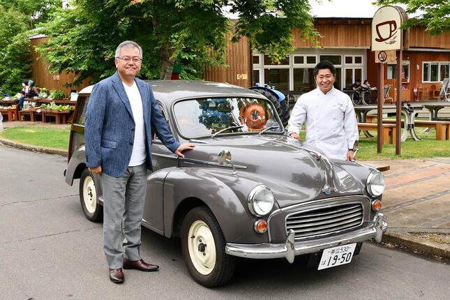 杉山さんが父から受け継いだモーリスの車。業者に頼んで電動化した「コンバートEV」だ