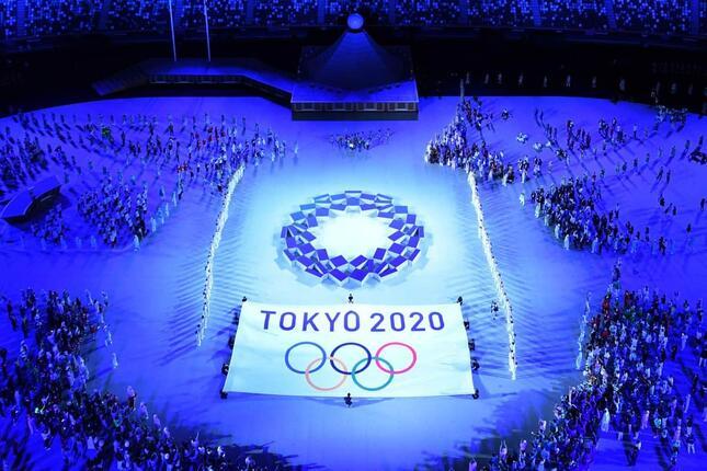 7月23日に行われた東京五輪の開会式(写真:AFP/アフロ)