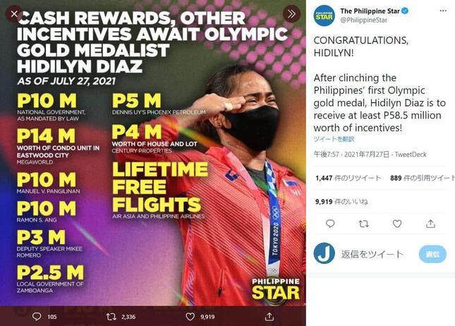 27日時点の報酬一覧(ツイッターアカウント@PhilippineStarより)