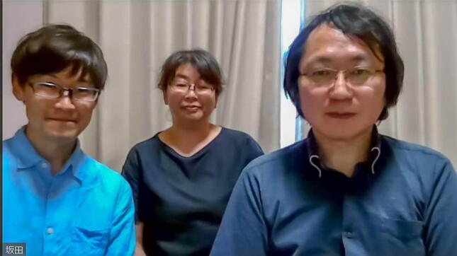 zoomで取材に応じた坂田さん(右)。ガタケット事務局の新代表となった武田優子さん(真ん中)と高橋大介さん(左)