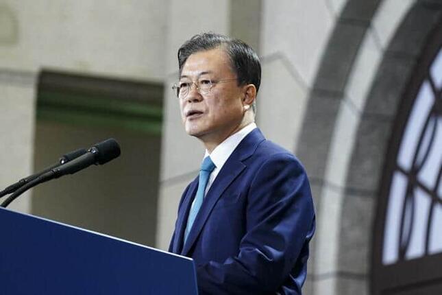 8月15日の式典で演説する韓国の文在寅(ムン・ジェイン)大統領。(写真は青瓦台ウェブサイトから)