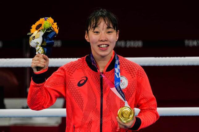 東京五輪で金メダルを獲得した入江聖奈選手(写真:USA TODAY Sports/ロイター/アフロ)
