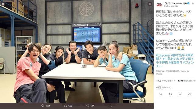 「TOKYO MER」のメンバー。ドラマ公式ツイッター(@tokyo_mer_tbs)より