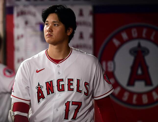 「敬遠攻め」のエンゼルス・大谷翔平選手(写真:USA TODAY Sports/ロイター/アフロ)