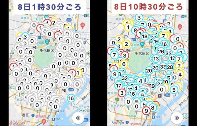 東京都心部におけるドコモバイクシェアのポート状況の変化。数字は貸し出し可能な自転車の台数を指している(編集部作成)