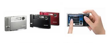 ソニーが発売する「サイバーショット DSC-T50」。(左から)シルバー、ブラック、レッド