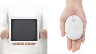 三洋電機が発売する「eneloop solar charger」(左)と「eneloop kairo」(右)