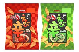 カルビーが発売する『かっぱえび辛 本格キムチ味』(左)『かっぱえび辛 本わさび味』(右)
