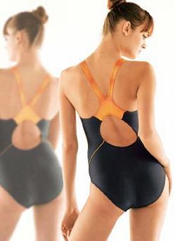 デサントが発売するフィットネス用水着「コンフィールカット」