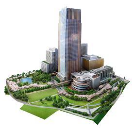 2007年春竣工予定「東京ミッドタウン」のイメージ。中央にそびえるミッドタウン・タワーの左手奥が「家賃500万円」のマンション