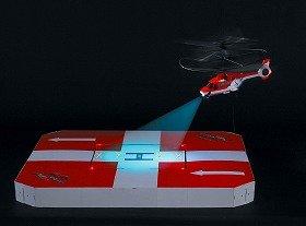 計9個のLEDが点滅・点灯するヘリポート。夜間着陸の雰囲気を醸し出す。