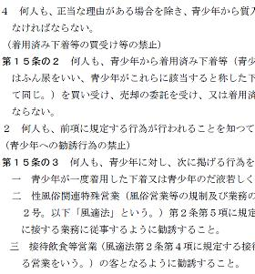 東京都の条例では女子高生の下着を買い受けることを禁止(「東京都青少年の健全な育成に関する条例」より)