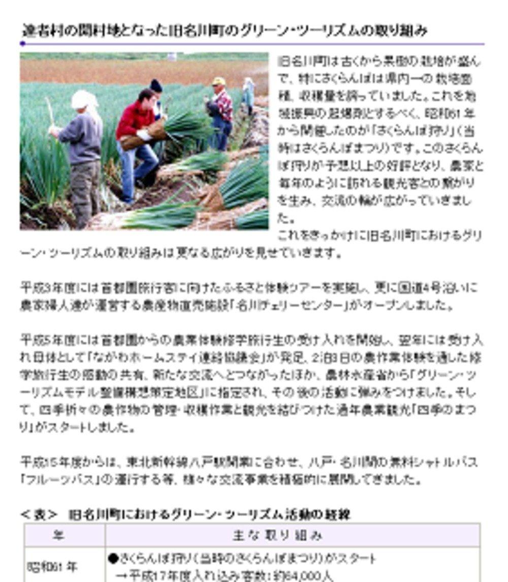 「達者村」では「グリーンツーリズム」を推進している(青森県南部町ウェブサイトより)