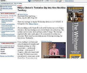 ヒラリー上院議員の服装を批判するワシントン・ポストのウェブ版