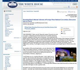 ホワイトハウスのサイトでもブッシュ氏の「トンデモ演説」が披露されている