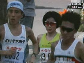北海道マラソンで「のり子大好き」が全国放送された(フジテレビより)
