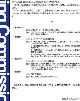 JBCは史郎氏の「反則指示」を「確認」してないという(JBCのHPより)