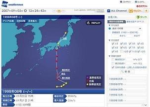 ウェザーニューズが提供する『過去台風データベース』