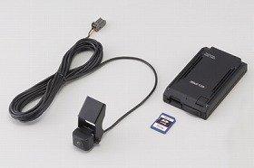 富士通テンが発売するドライブレコーダー「DREC2000」(写真左よりカメラ、SDカード、本体)。富士通テンが発売するドライブレコーダー「DREC2000」(写真左よりカメラ、SDカード、本体)