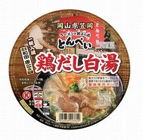 オリジナルカップ麺「笠岡とんぺい 鶏だし白湯」。サークルKサンクスから限定販売