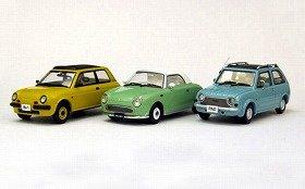 京商「日産パイクカー・シリーズ」(左から「Be-1」「フィガロ」「パオ」)