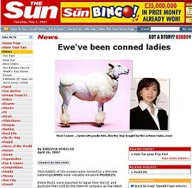 「サン」では、ご丁寧にもトリミングした「羊」の写真を掲載