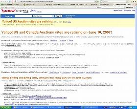 美国雅虎刊登了停止拍卖服务的公告