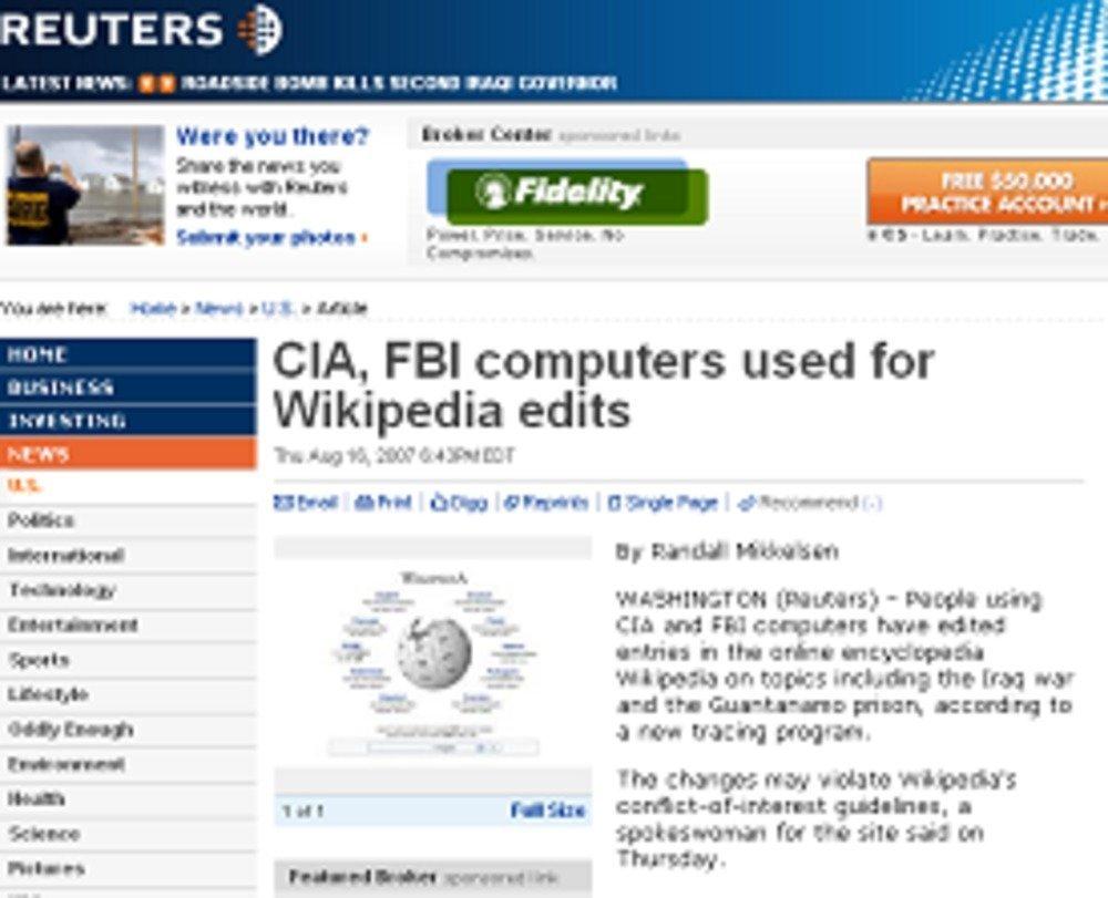 CIAとFBIの編集「疑惑」を報じるロイター電子版