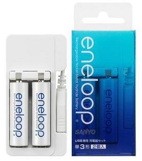 """USB专用充电器的成套产品(单项3号《eneloop充电池》附带2节)"""