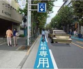東京都渋谷区幡ヶ谷に設置された自転車道