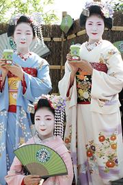 京舞を披露してくれた3人の舞妓さん。左からとし結さん、とし輝さん、とし芙美さん