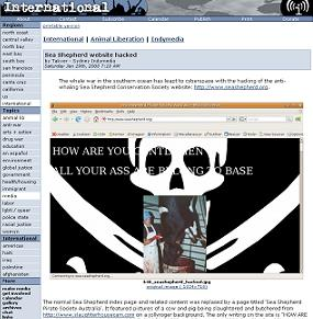 反捕鯨団体の「HPハッキング」が海外で報じられた(indybay.orgより)