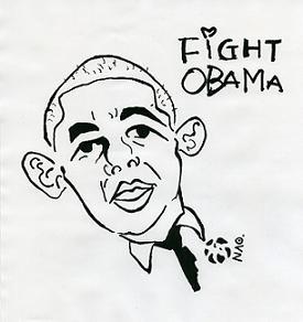 小浜市の「オバマ候補を勝手に応援する会」がつくった応援イラスト