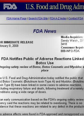 米FDAは「ボトックス」による副作用について警告している