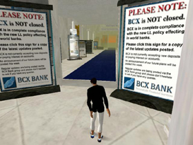 Some of the virtual banks put out notice at their entrances to explain to  investors