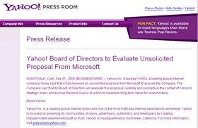 米Yahoo!のホームページには「ヤフー取締役会はマイクロソフトからの提案を検討する」との声明が掲載された