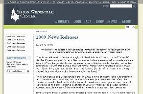 「サイモン・ウィーゼンタール・センター」のウェブサイトには、田原氏を批判する声明が掲載されている