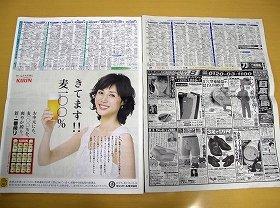 6月23日の朝日新聞夕刊(左、東京本社4版)と読売新聞夕刊(右、東京本社4版)。朝日の方が「白い」のが一目瞭然だ