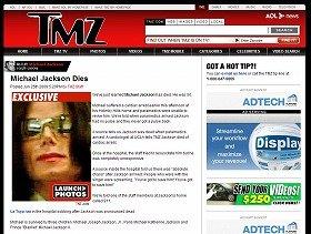 芸能サイト「TMZ」がジャクソンさんの死亡を速報した