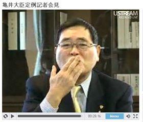 ネット中継の視聴者に向けて「投げキッス」をする亀井静香・国民新党代表