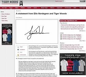 ウッズ選手は、離婚を公式ウェブサイトで発表した