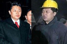 毎日新聞が「金ジョンウン氏」として報じた朝鮮中央通信の写真(3月4日、左)と、朝鮮中央テレビで金総書記への賛辞を述べる「キム・グァンナム」を名乗る男性(1月1日、右)